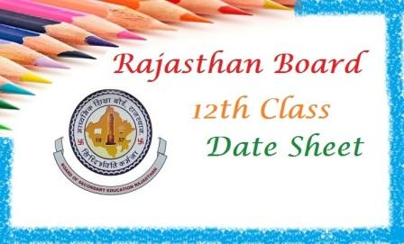 Rajasthan Board 12th Science stream Time Table 2018