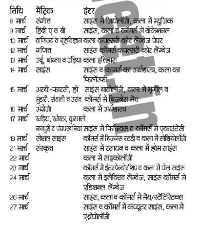 Jharkhand Board 10th Time Table 2019