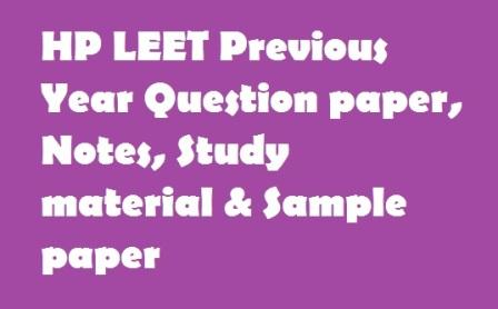 HP LEET Previous Year Question paper