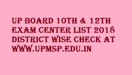 UP Board 10th & 12th Exam Center List 2019 District Wise