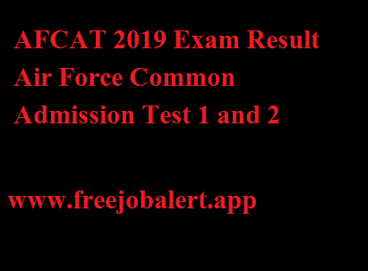 AFCAT 2019 Exam Result Air Force Common Admission Test 1 and 2