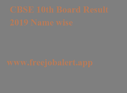 CBSE 10th Board Result 2019 Name wise