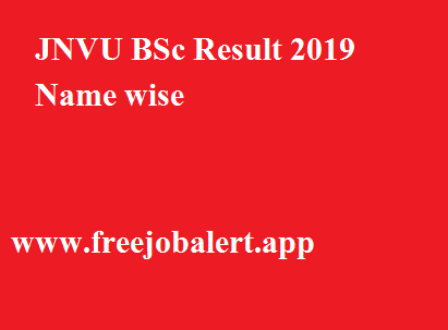 JNVU BSc Result 2019 Name wise