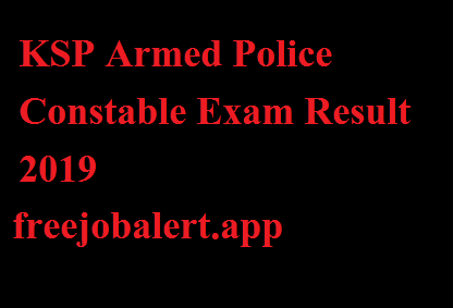 KSP Armed Police Constable Exam Result 2019
