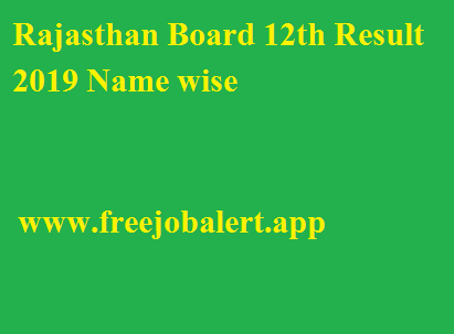 Rajasthan Board 12th Result 2019 Name wise