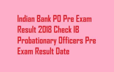 Indian Bank PO Pre Exam Result 2018