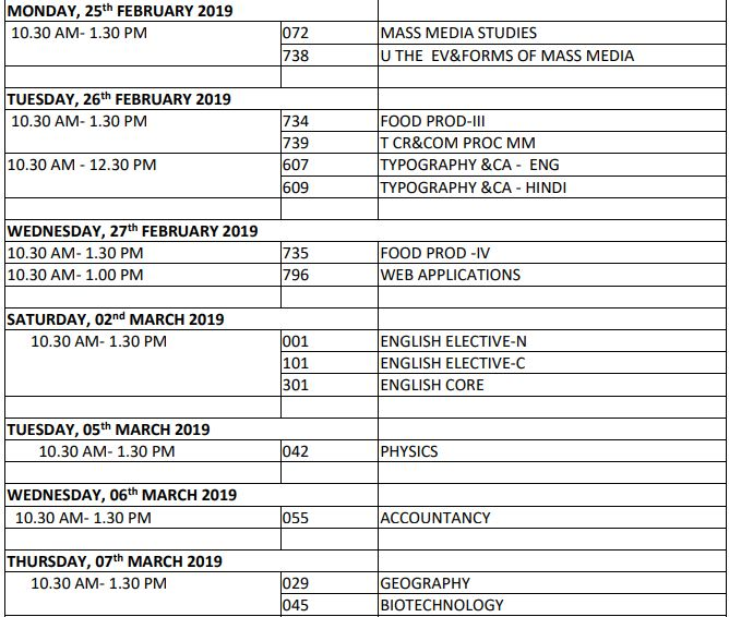 CBSE 12th Board Time table 2019